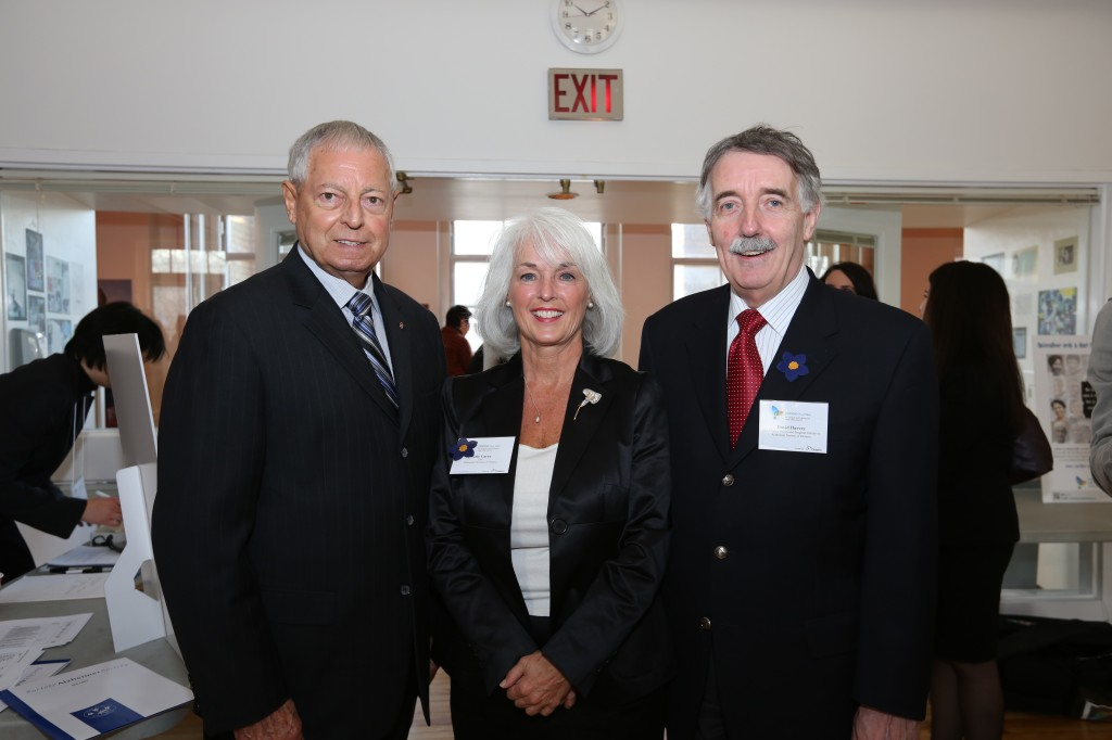 Mario Sergio, Ontario Minister for Seniors, with CEO Gale Carey and PPPI Head David Harvey