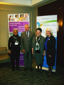 Representatives from the Alzheimer Society of London with the Minister and Gale Carey