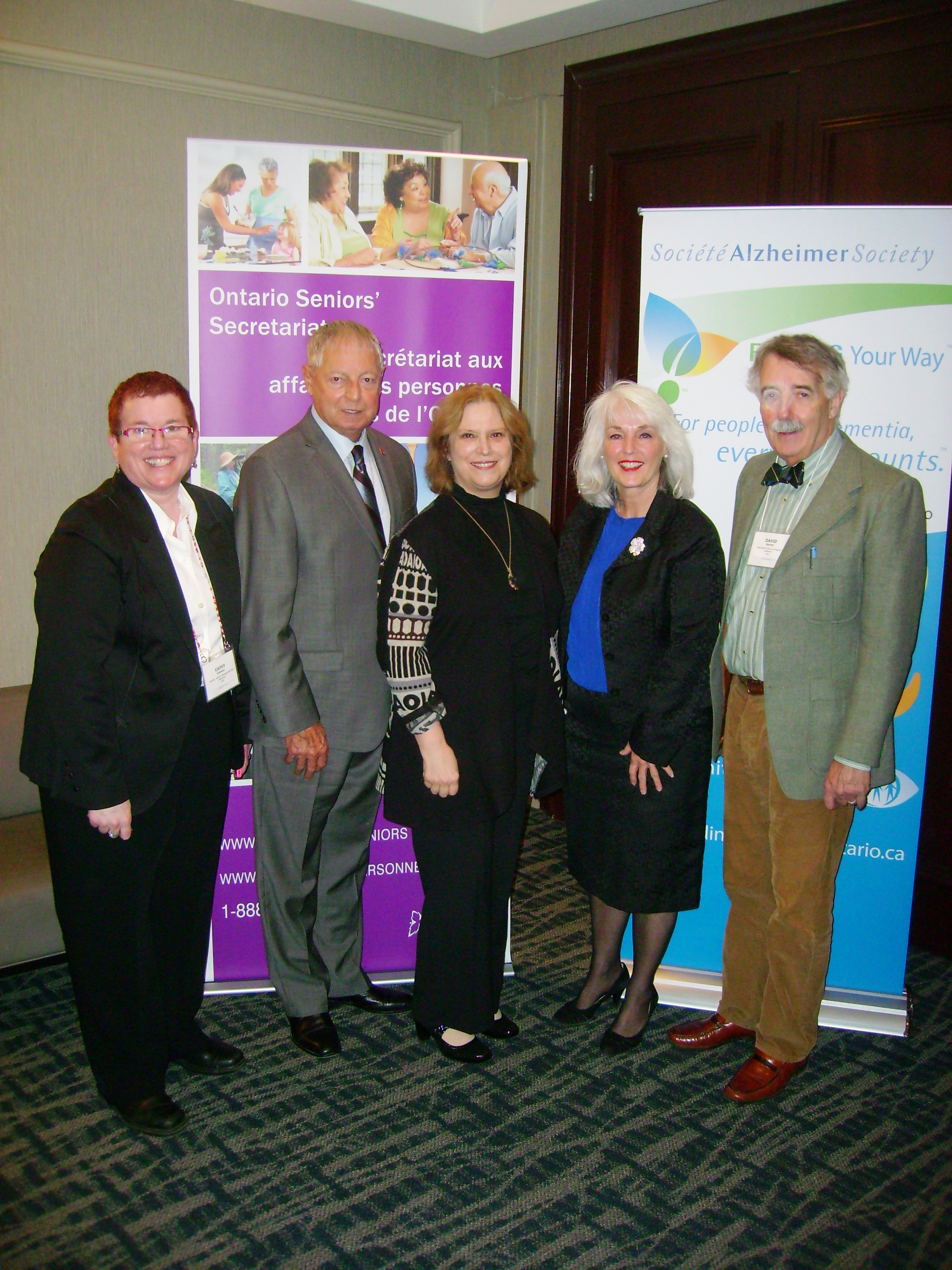 Representatives from the Alzheimer Society of Ontario with the Minister and Gale Carey