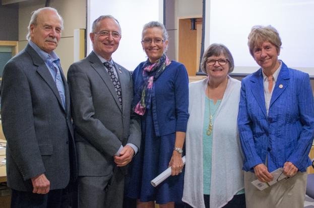Left to right: Bill Heibein, Senator Kelvin Kenneth Ogilvie, Phyllis Fehr, Bea Kraayenhof, and Senator Nancy Greene Raine.